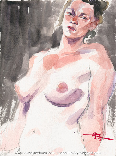 Female Nude, Seated In Semi-Profile, Leaning Back On Her Left Arm