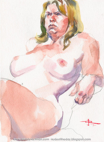 Grumpy Female Nude, Seated In Semi-Profile, Leaning Back