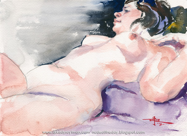 Reclining Female Nude, Her Left Hand On Her Shoulder, Looking Away