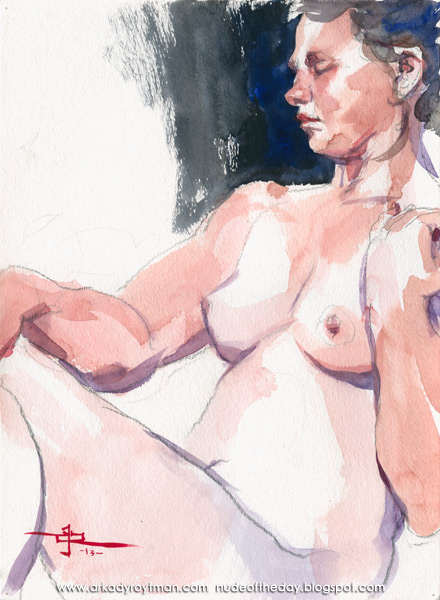 Female Nude, Seated In Profile, Her Left Hand On Her Shoulder