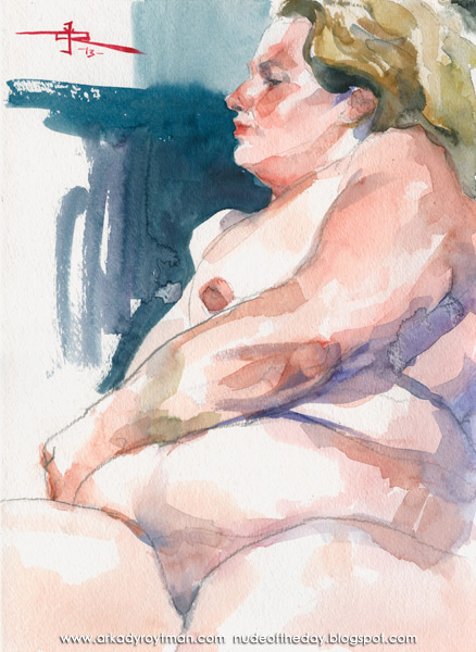 Deirdre, Seated In Profile, Her Left Arm Resting On Her Stomach