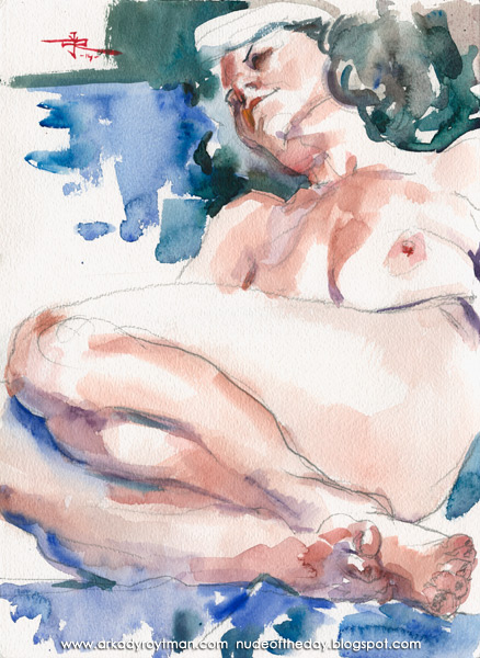 Beth, Reclining On A Blue Cloth