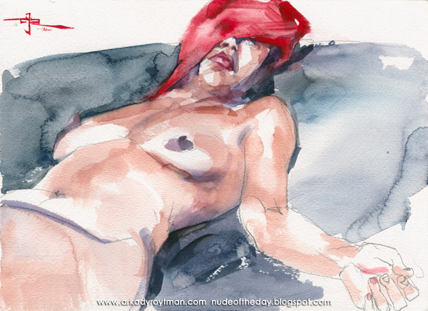 Shondra With A Red Scarf Draped Over Her Face, Reclining