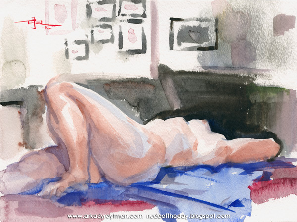 Jil, Reclining On A Blue Cloth