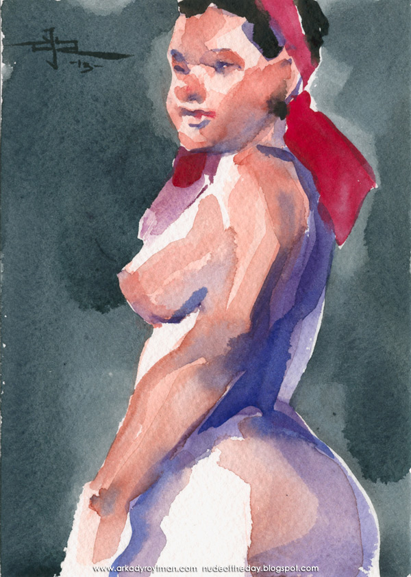 Female Nude, Standing In Profile, Wearing A Red Bandanna