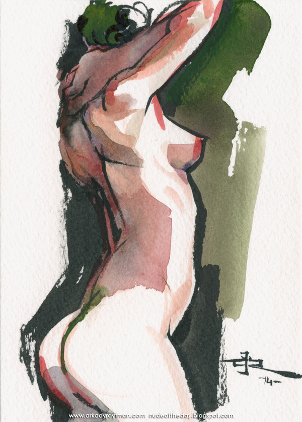 Female Nude, Standing In Profile, Her Right Hand On Her Neck