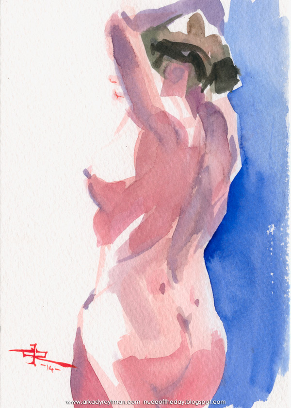 Female Nude, In Reverse, Her Left Arm Resting On Her Head