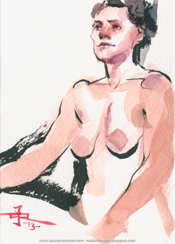 Female Nude, Seated In Semi-Profile