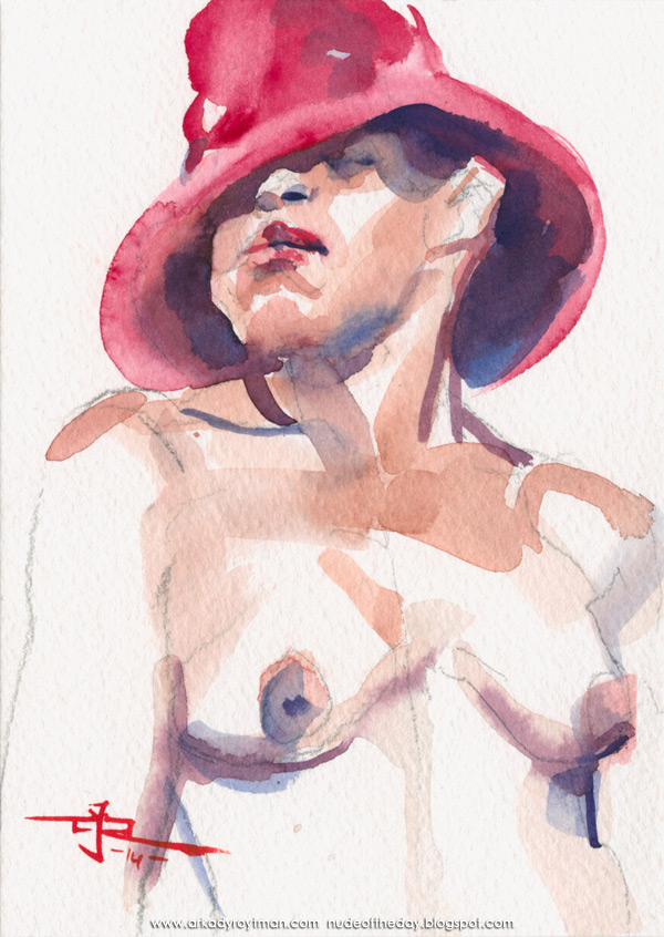 Female Nude, In A Red Hat