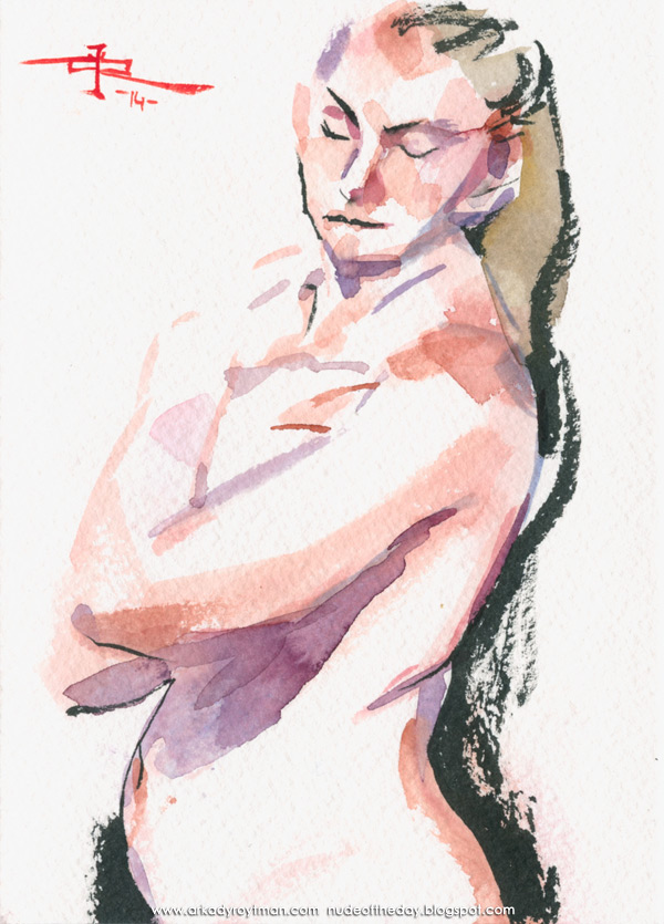 Female Nude, Standing In Semi-Profile, Her Hands On Her Chest