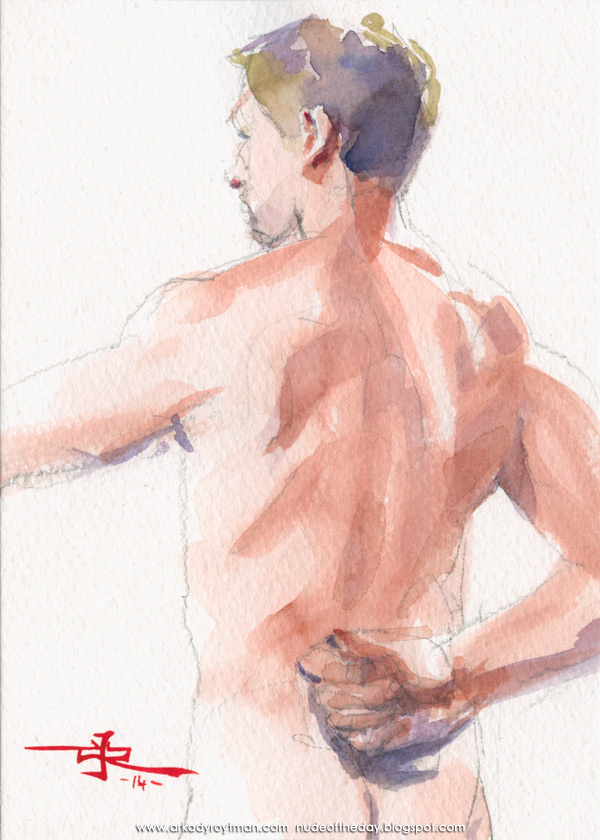 Male Nude, Standing In Reverse, His Right Hand Behind His Back
