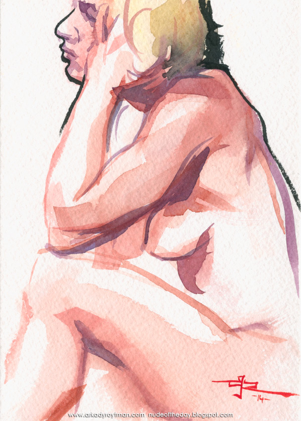 Female Nude, Seated In Profile, Resting Her Head In Her Left Hand