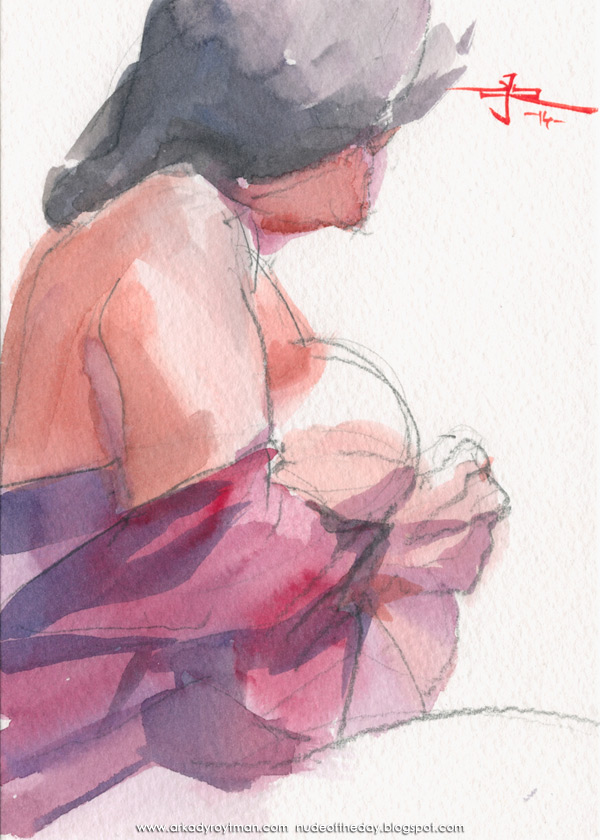 Female Nude, Seated In Profile, Wrapped In A Magenta Cloth
