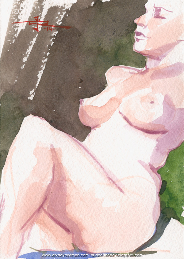Female Nude, Seated In Semi-Profile, Leaning Back