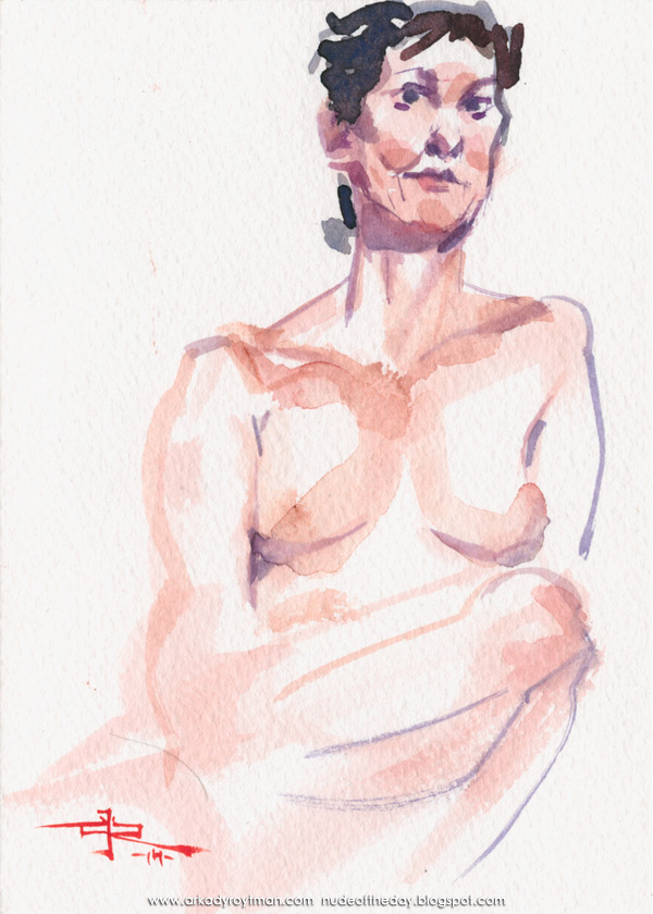 Female Nude, Seated, Leaning On Her Left Arm