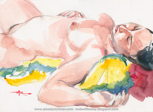 Female Nude, Reclining On A Yellow Cloth