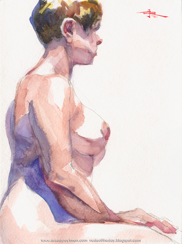 Female Nude, Seated In Profile, Her Hands In Her Lap