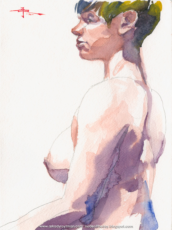 Female Nude, Seated In Profile