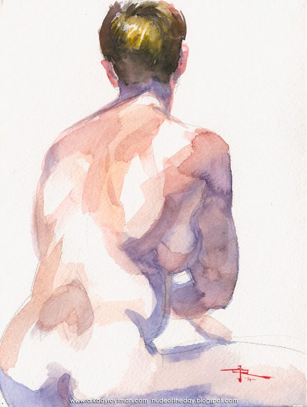 Female Nude, Seated In Reverse