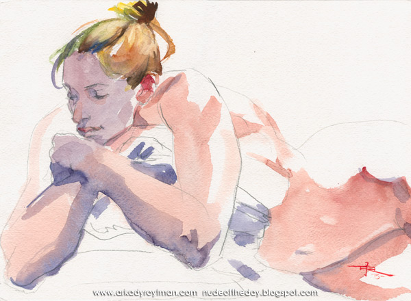 Female Nude, Reclining, Embracing A Pillow