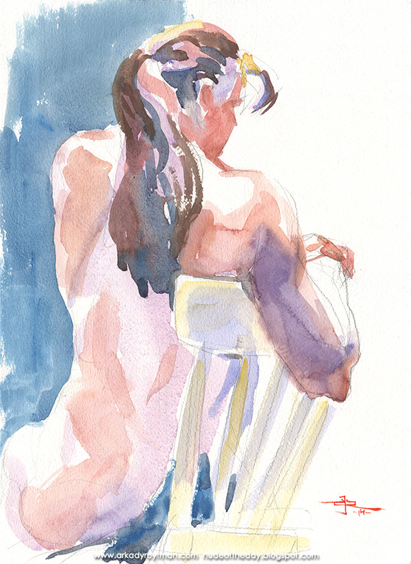 Female Nude, Seated In Reverse, Leaning On The Back Of A Yellow Chair