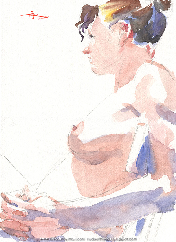Female Nude, Seated In Profile, Her Hands Clasped At Her Side