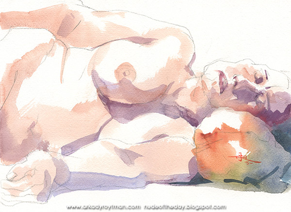 Katherine, Reclining On An Orange Pillow