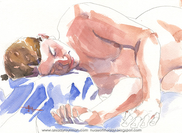 Female Nude, Reclining On A Blue Cloth