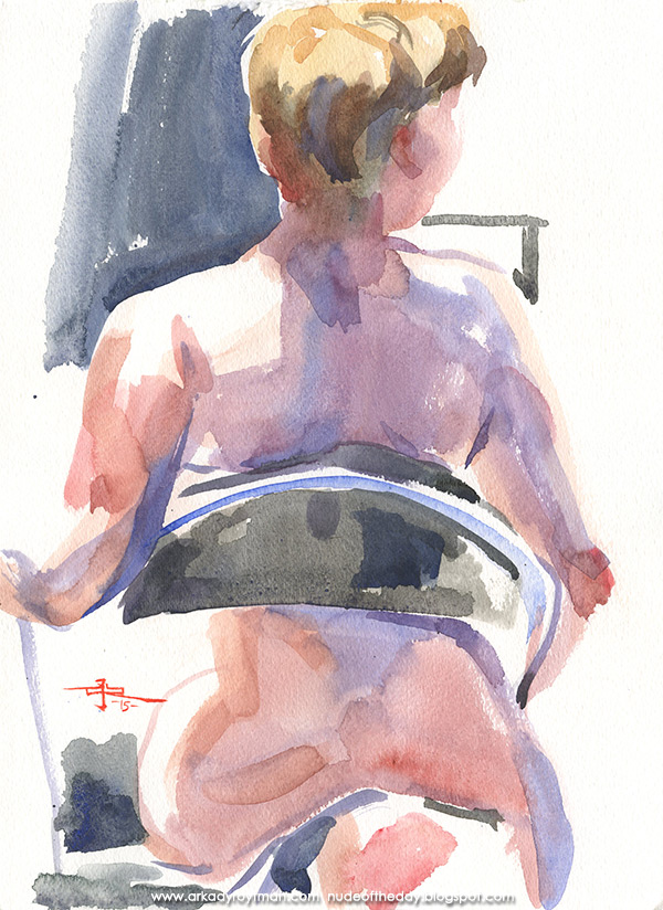 Female Nude In Reverse, Seated In A Folding Chair