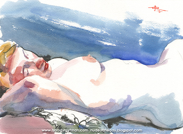 Reclining Female Nude, Resting Her Head On Her Right Arm