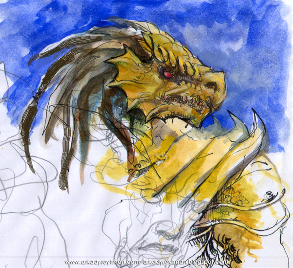Dragonborn Watercolor Sketch 01