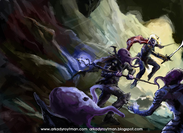 Drow vs Mind Flayer Cover