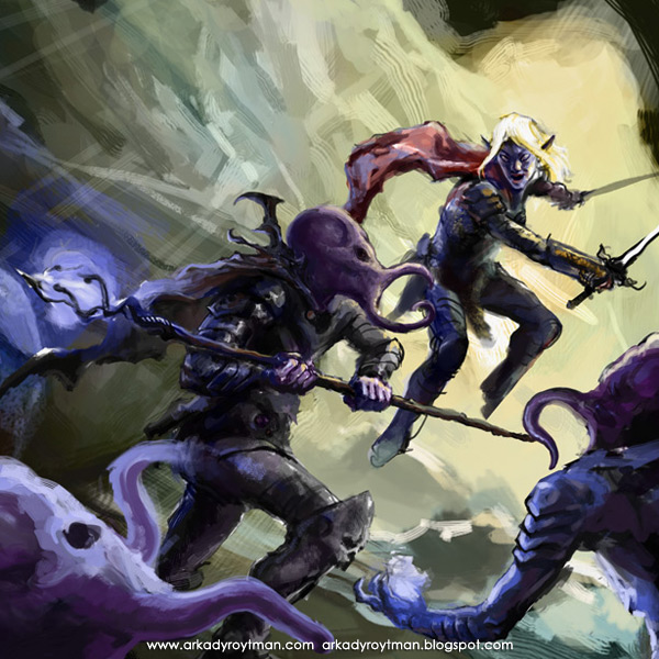 Drow vs Mind Flayer Cover detail