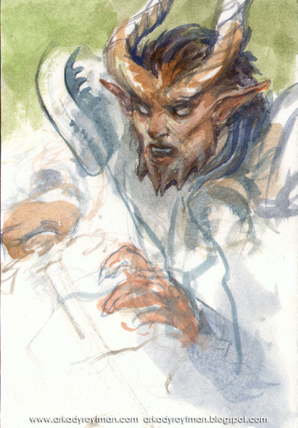 Tiefling Watercolor Sketch 01