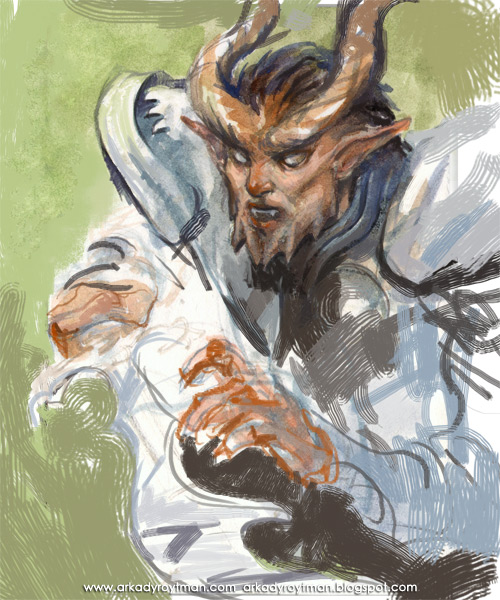 Tiefling Watercolor Sketch 02